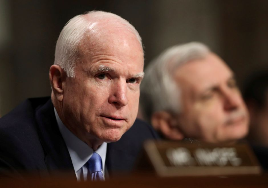 Senate Armed Services Committee Chairman Sen. John McCain, R-Ariz., and ranking member Sen. Jack Reed, D-R.I., presides over a hearing on