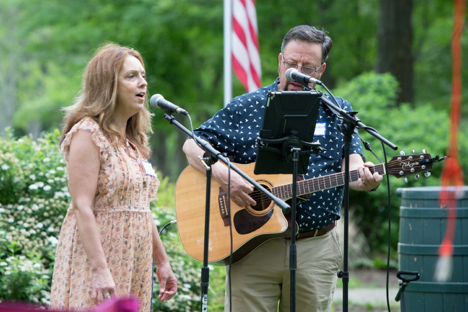 Lori Holm and Ed Rosenblatt of Kate and Eddie perform for guests Sunday during the Quinnipiac River Trail celebration at the Quinnipiac River Watershed in Meriden May 31, 2016 | Justin Weekes / Special to the Record-Journal