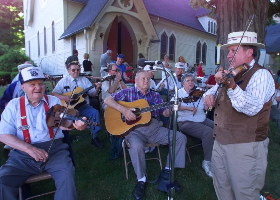 President and founder Gerry Lagace, right, with the Bristol Old Tyme Fiddler