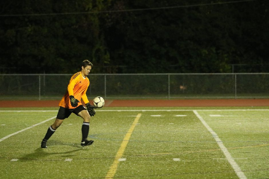 Fourth-year Cheshire goalie Matt Pisani and his fellow senior teammates closed out their Cheshire soccer careers in Saturday's 2-1 loss to Xavier in the SCC Division A final. Photo courtesy of Ellen Loura