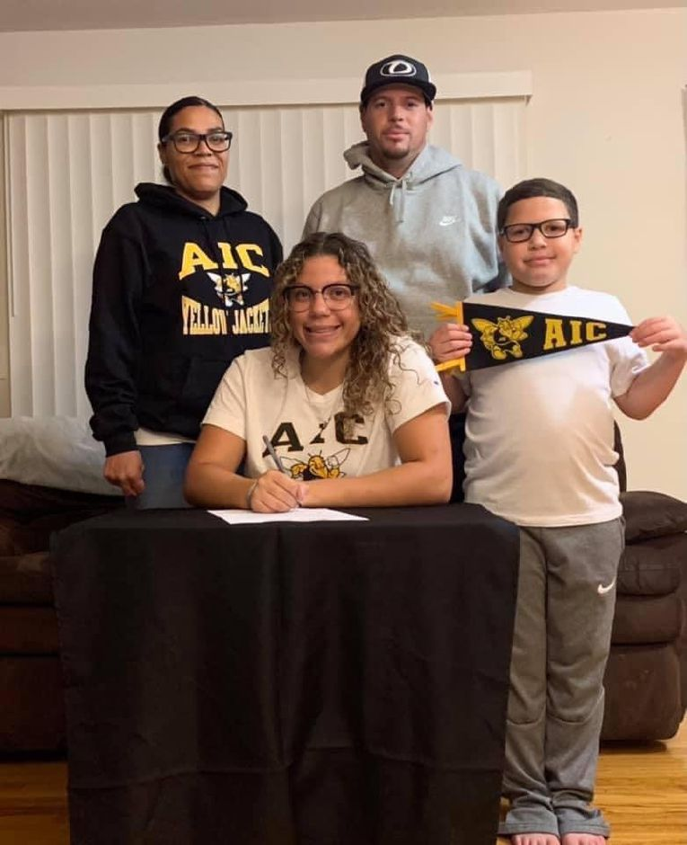 In choosing to attend American International College, Cheshire High School senior softball player Trinadey Santiago will be the first member of her family to attend college. Submitted photo.