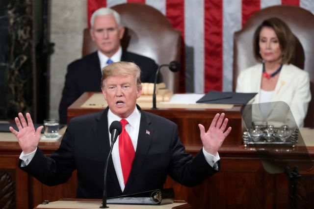 President Donald Trump delivers his State of the Union address to a joint session of Congress on Capitol Hill in Washington, as Vice President Mike Pence and Speaker of the House Nancy Pelosi, D-Calif., watch, Tuesday, Feb. 5, 2019. (AP Photo/Andrew Harnik)
