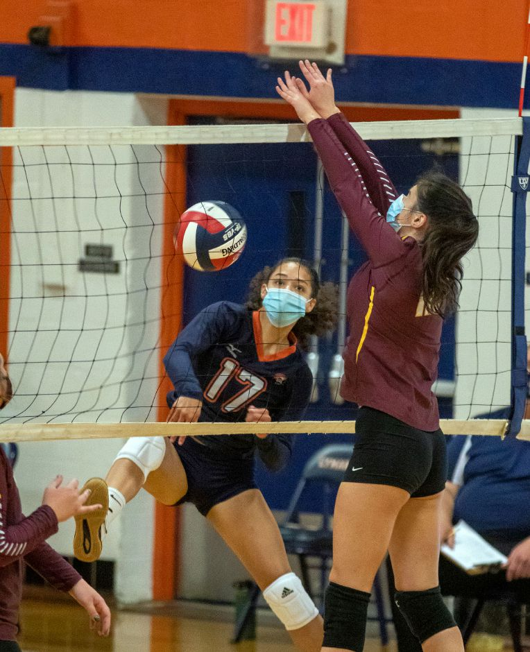 Lyman Hall's Mackenzie Grady ball is blocked at the net by Sheehan's Emily Jockle during a match-up at Lyman Hall on Thursday, October 15, 2020. Aaron Flaum, Record-Journal