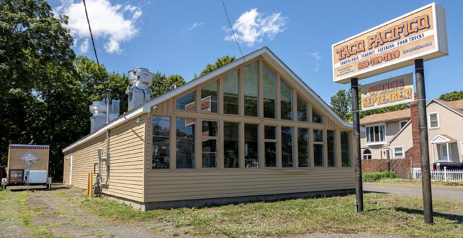 Taco Pacifico, 97 Chapel St., Yalesville, Mon., Aug. 3, 2020. The new restaurant is opening in September according to a sign in front of the business. The building was formerly home to the Village Green Bar and Grille. Dave Zajac, Record-Journal