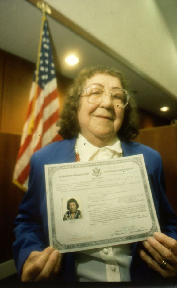 RJ file photo - Cuban-born Lillia Rowland of Wallingford became an American citizen at a ceremony in a New Haven courtroom Jan. 5, 1990 - fulfilling the wish of her late husband, who died in 1985. Rowland fled Cuba as Fidel Castro took power.