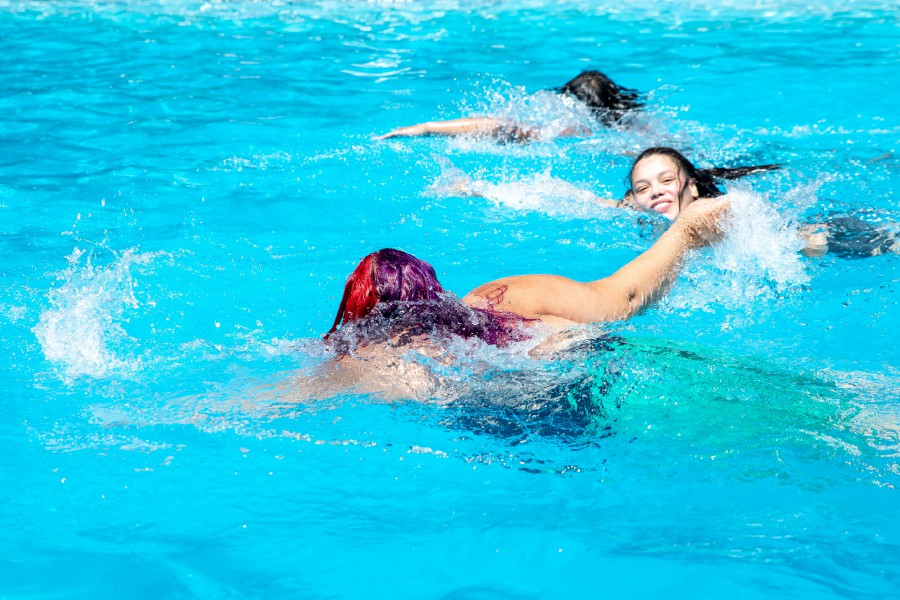 Tytiana Gonzalez, of Meriden, swims in the Hubbard Park pool on Sunday. The pool has often reached maximum capacity this season.Devin Leith-Yessian, Record-Journal