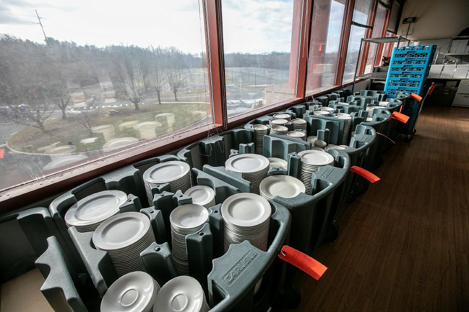 Dishware tagged for auctioni n the former Bristol-Myers Squibb in Wallingford, Fri., Jan. 25, 2019. Dave Zajac, Record-Journal