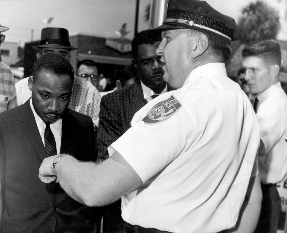 During months of local anti-segregation campaigns led by the SCLC in Albany, Georgia, Reverend Dr. Martin Luther King Jr. is arrested by Albany