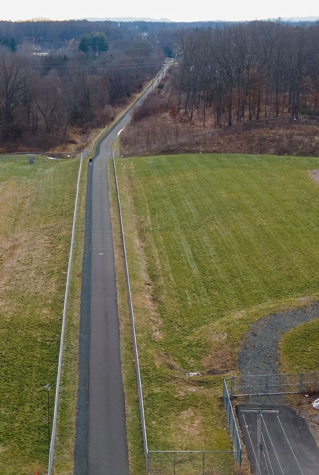 This overhead view looking south shows the end of the Farmington Canal Heritage Trail near Lazy Lane in Southington on Wednesday.