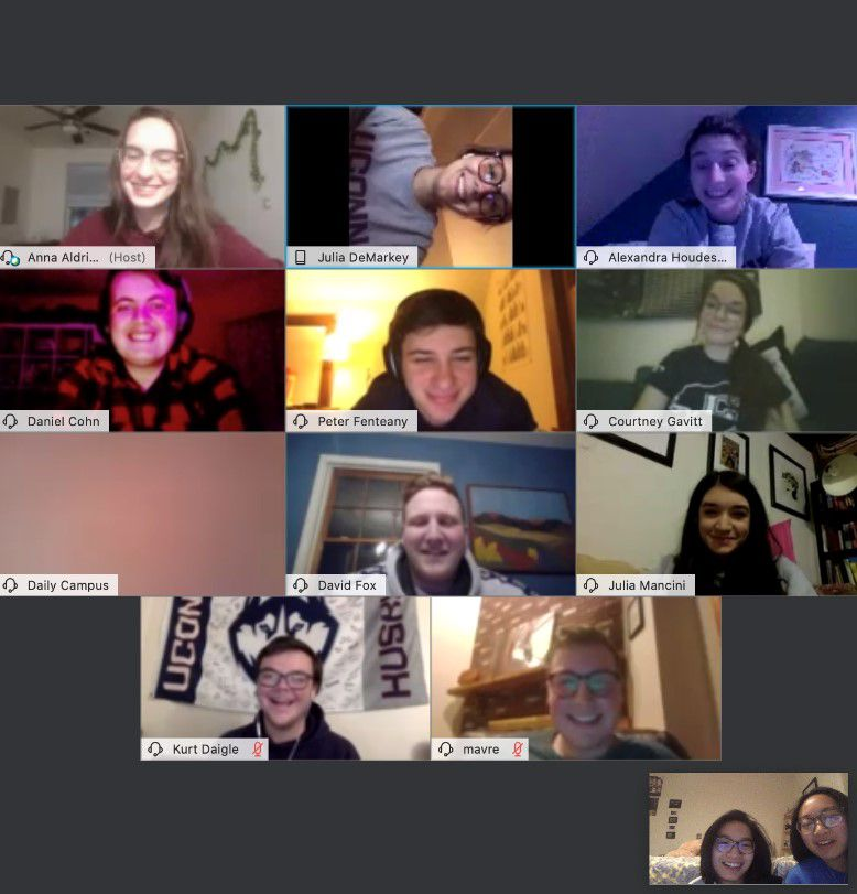 A screenshot of a recent meeting of the board of directors for the Daily Campus, the student-run newspaper at the University of Connecticut. Board members, unable to meet in person, have been convening those board meetings online.