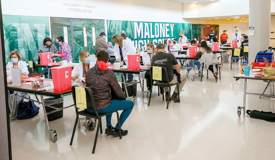Meriden will host a clinic May 22 at Maloney High School for children ages 12 and up. A clinic was held at Maloney in March for district staff, bus drivers and members of the public as seen in this file photo. | Dave Zajac, Record-Journal