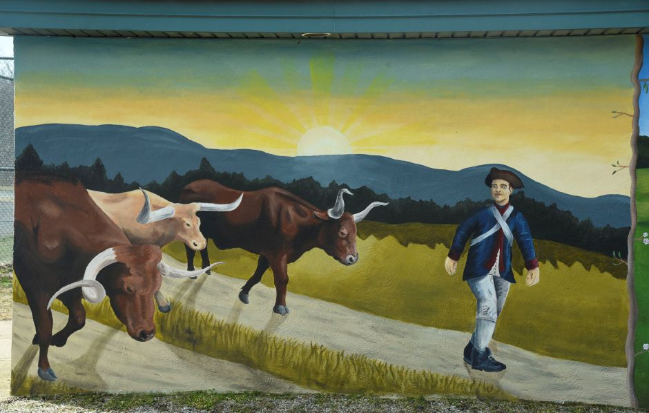 A mural painted at Allyn Brook Park in Durham by local artist Mike Golschneider depicts the founding, and possible future, of the town of Durham. Pictured April 6, 2019 | Bailey Wright, Record-Journal