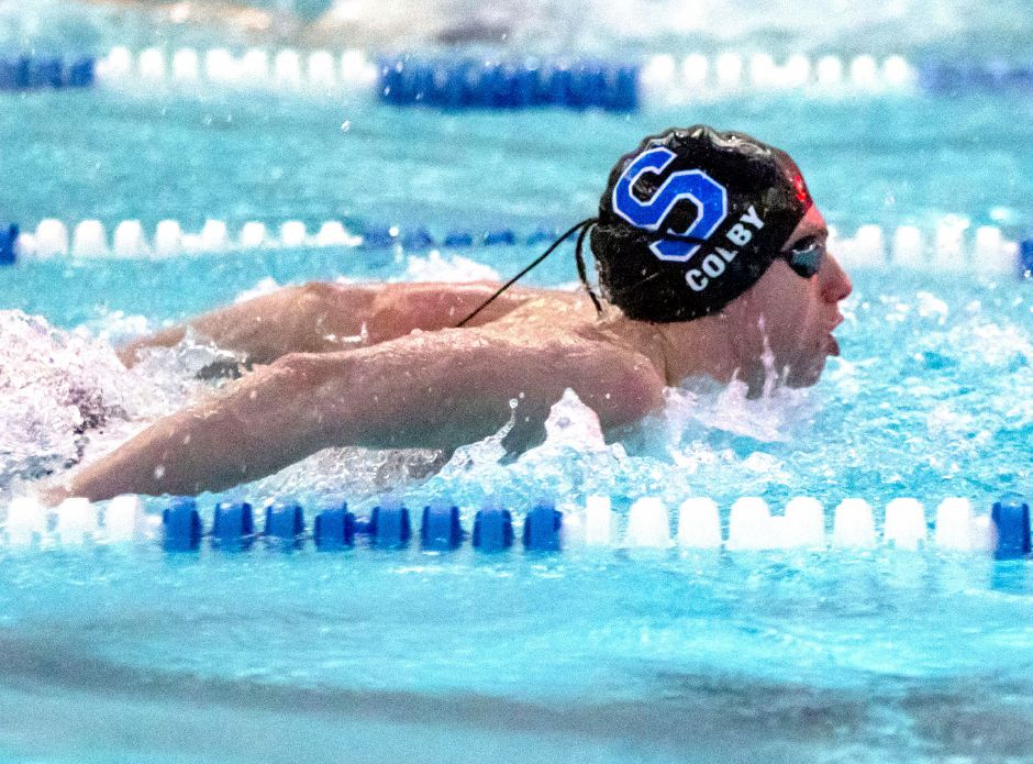 Southington's Landon Colby, still only a sophomore, captured the 100 butterfly championship in the CCC West. Colby was also on Southington's 200 medley and 400 freestyle conference championship relays.  Aaron Flaum, Record-Journal