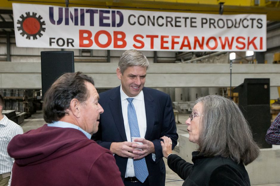 Bob and Mary Borrelli of North Haven speak with Bob Stefanowski (R) after his speech Tuesday at United Concrete in Wallingford October 23, 2018 | Justin Weekes / Special to the Record-Journal