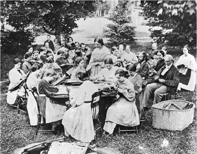 "FILE: An undated photo of a ""bag-making bee"" by members of the Wallingford Onedia community, which existed from 1851-1881. 