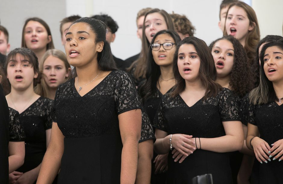 The Maloney Allegrettos perform during the Martin Luther King Jr./Albert Owens 2018 Scholarship Breakfast at Maloney High School, Monday, Jan. 15, 2018. Dave Zajac, Record-Journal