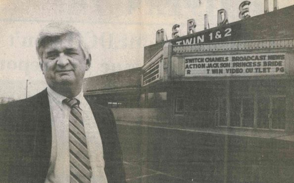 Left: Charles Tolis at the Meriden Twin on the day of its final showing, in April 1988. File photos by Record-Journal