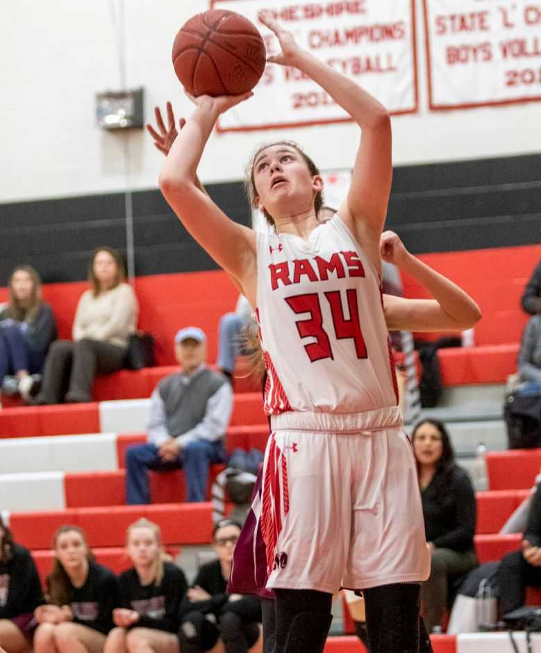 Emma Watkinson closed out her Cheshire career with eight points in Monday's CIAC Class LL first-round loss at Newtown. Watkinson is going on to play at Endicott College. | James Brandolini / Cheshire Herald