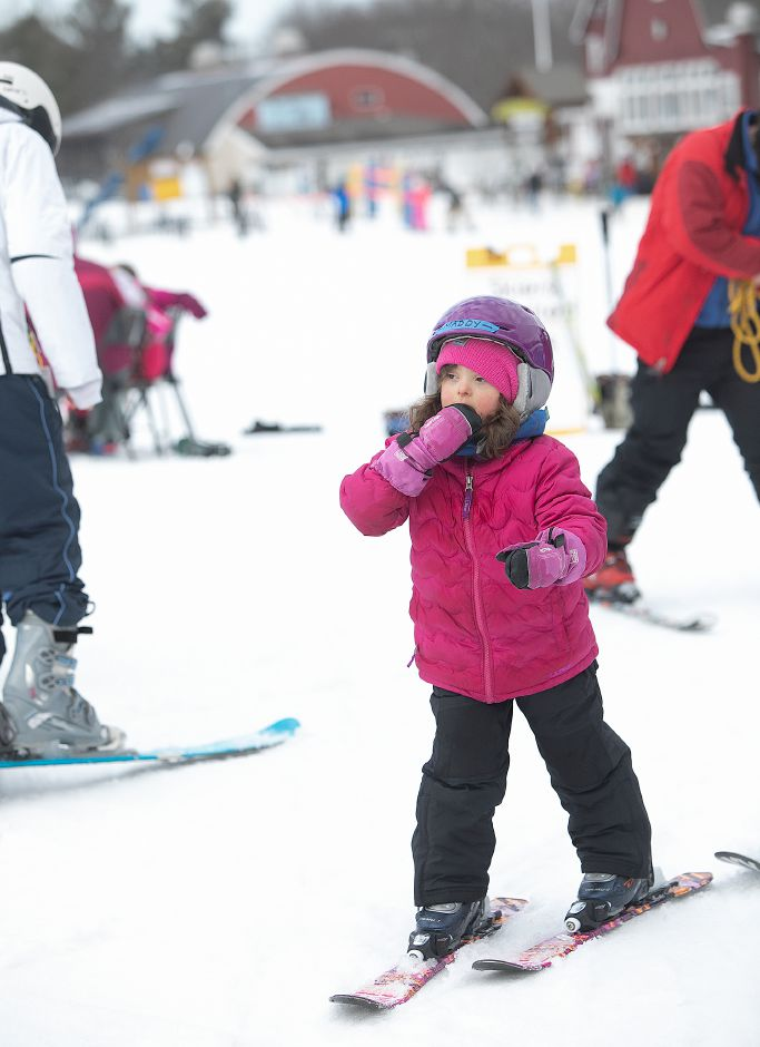 Madison Hanson, 7, of East Hartford, makes her way to the chairlift during Skiers Unlimited at Mount Southington, Fri., Feb. 15, 2019. Dave Zajac, Record-Journal