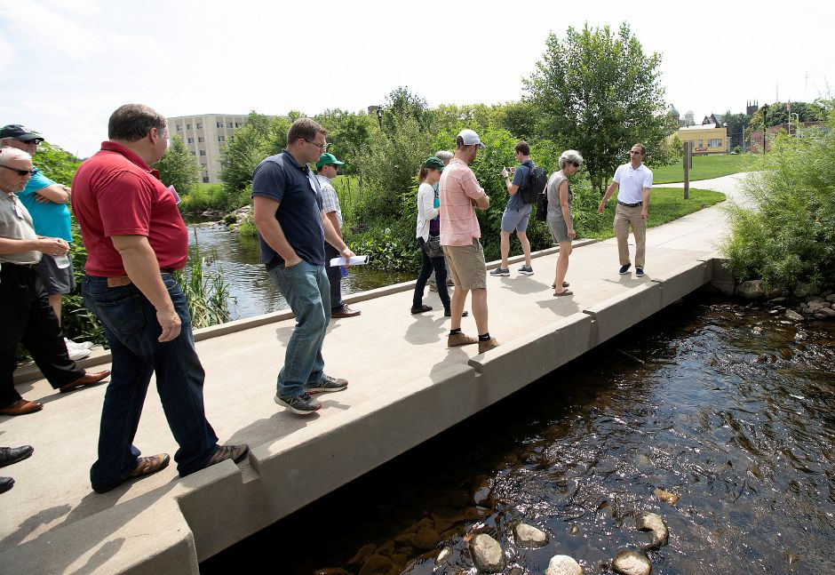 Members of the American Society of Landscape Architects tour the Meriden Green, Wednesday, August 8, 2018. Dave Zajac, Record-Journal