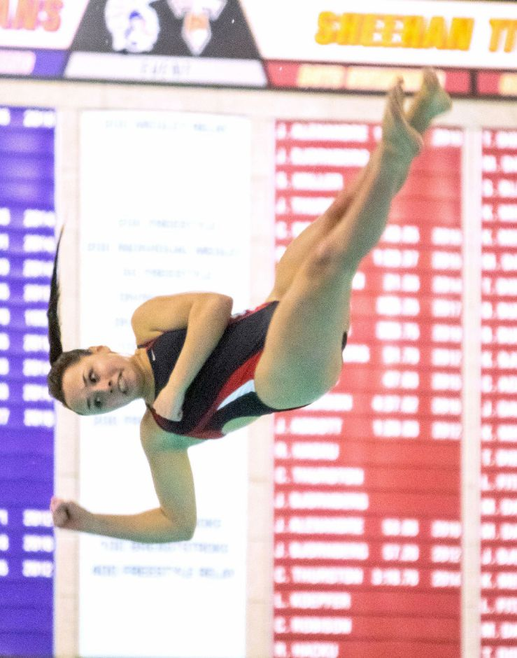 Lyman Hall/Coginchaug's Elyse Boothroyd broke her own Coginchaug six-dive record when she hit for 241.0 in the Wallingford rivalry meet. She went on to place third in the SCC Championships. Aaron Flaum, Record-Journal