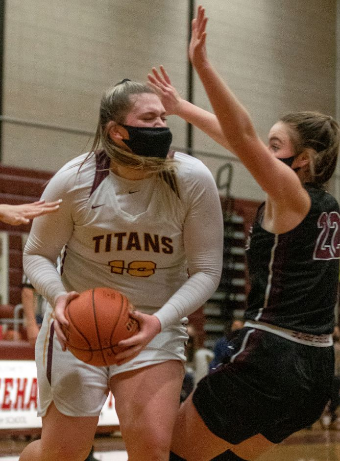 For a second straight year, Sheehan's Caitlyn Hunt was the area's leading scorer in girls basketball. The senior center averaged 12.9 points a game and was named the SCC East Division Player of the Year. Aaron Flaum, Record-Journal