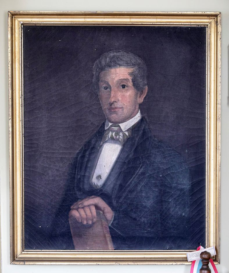 An oil painting of Dr. Benjamin Harrison by artist Harriet Lane at the Wallingford Historical Society, Tues., Jan. 14, 2020. Dave Zajac, Record-Journal