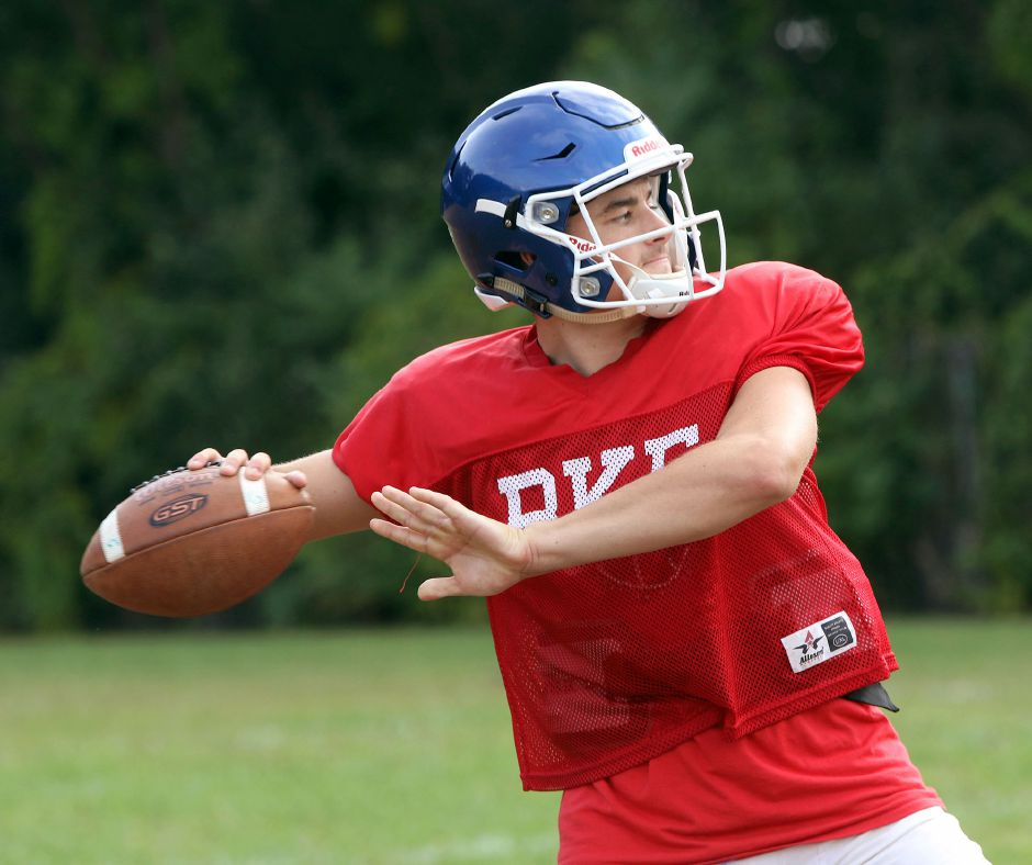 Junior Brady Lafferty, with his ability to stretch the field vertically, has earned the starting quarterback position for the Southington Blue Knights. | Aaron Flaum, Record-Journal