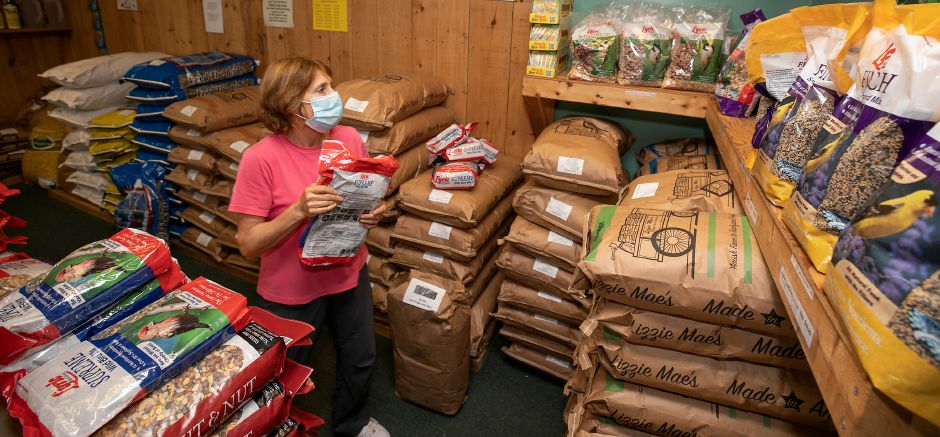Store associate Jane Brokaw stacks bird seed at The Fat Robin Wild Bird and Nature Shop on Tuesday.