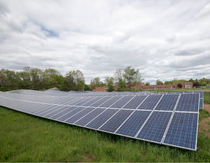 A large ground-mounted solar array behind Hatton School in Southington. The town approved new regulations for homeowners who want smaller ground-mounted solar panels.