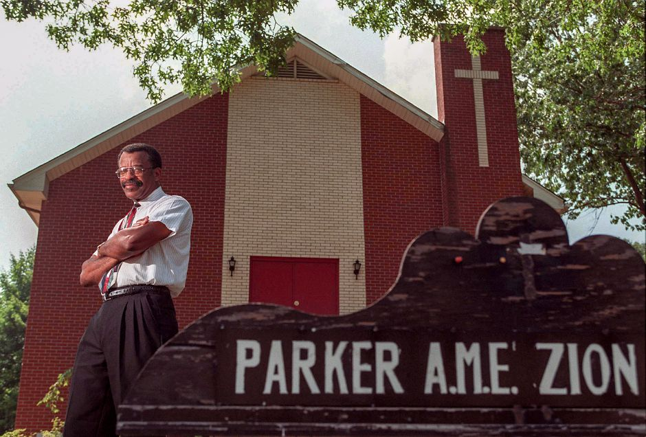 The Rev. Edward White is the new minister at Parker A.M.E. Zion Church, July 6, 1999.
