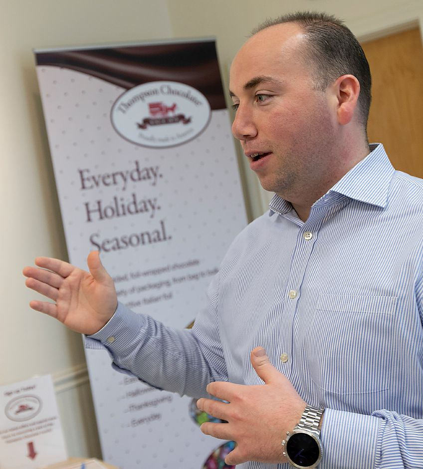 Sales and Marketing Manager Kevin Scarpati talks about Thompson Chocolate, Tues., Feb. 4, 2020. Thompson Chocolate is one of 18 stops on the Connecticut Chocolate Trail. Dave Zajac, Record-Journal