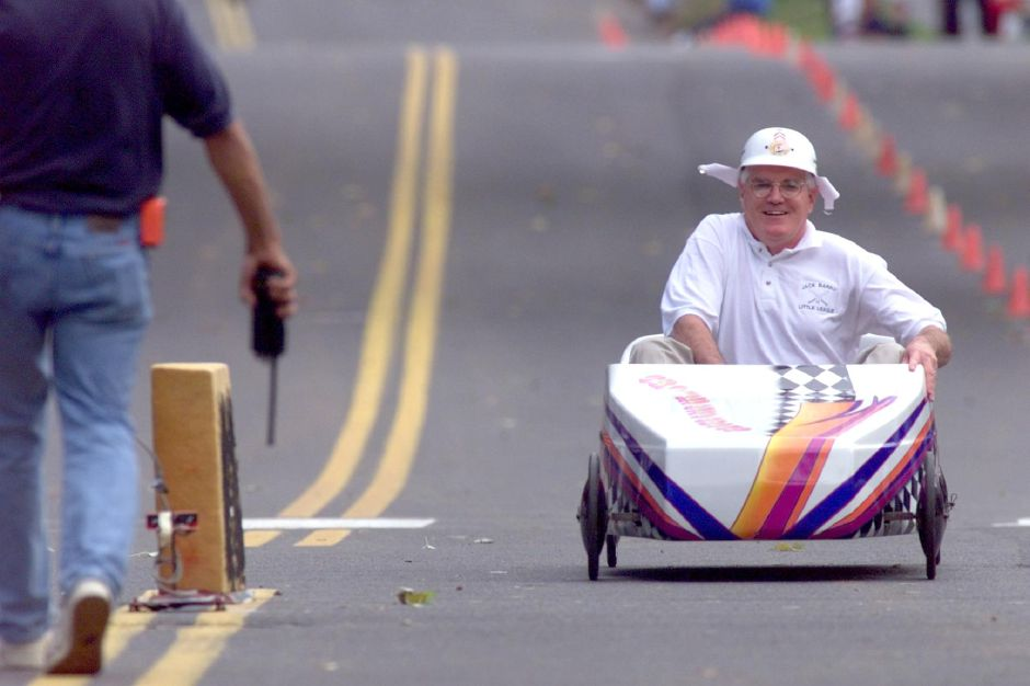 Mayor Joe Marinan ,Jr. may have found an innovative way to hit the campaign trail-- in this case, as one of the celebrity racers in the Meriden Soap Box Derby on Sunday Oct. 17,1999.