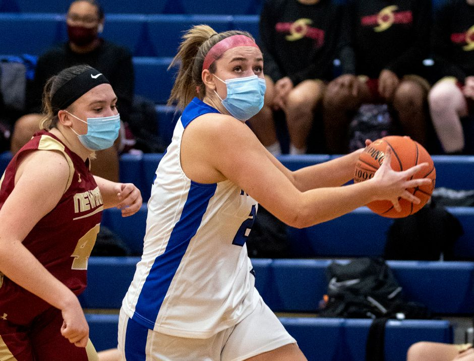 Southington's Kelley Marshall returned to action with 12 points Wednesday to lead the Blue Knights to a 67-34 victory at home over New Britain. Aaron Flaum, Record-Journal