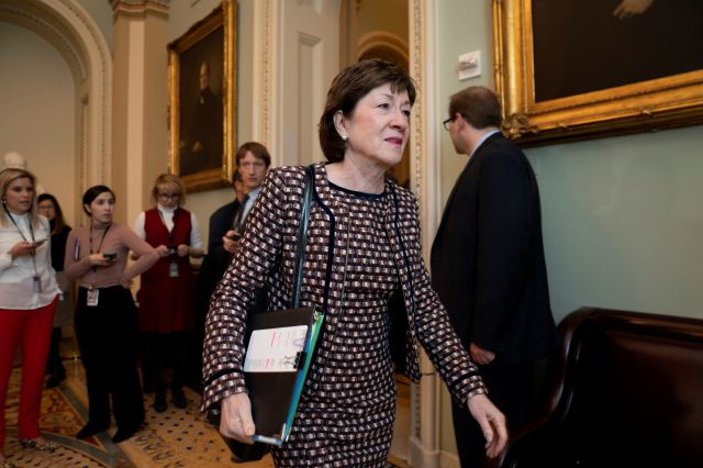 Sen. Susan Collins, R-Maine, arrives for a closed meeting with fellow Republicans about the looming impeachment trial of President Donald Trump, at the Capitol in Washington, Tuesday, Jan. 7, 2020. (AP Photo/J. Scott Applewhite)