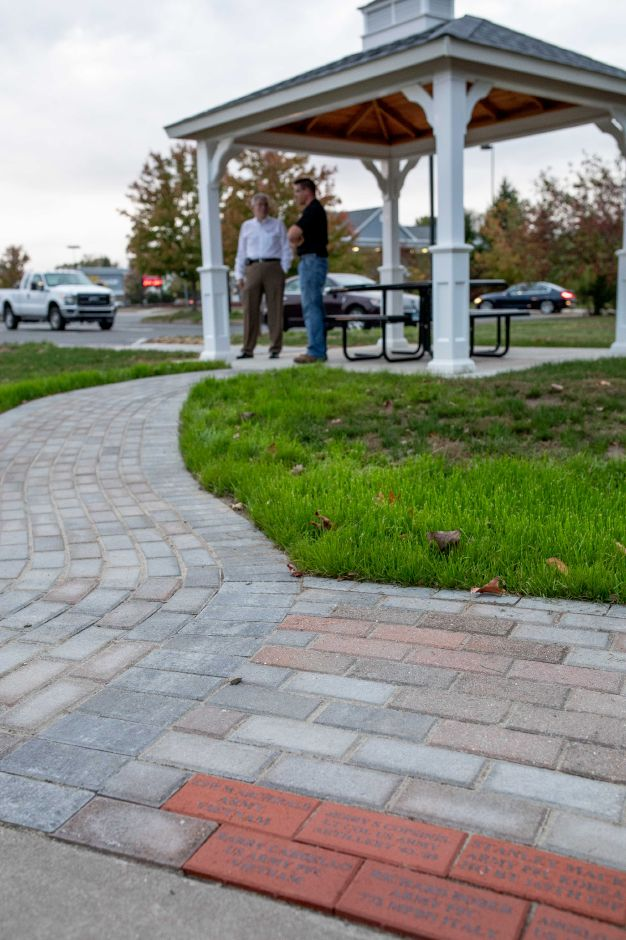 New paving stones were installed at Veterans Memorial Park in Berlin by Charles Paonessa, owner of a local construction firm and a member of the Town Council.