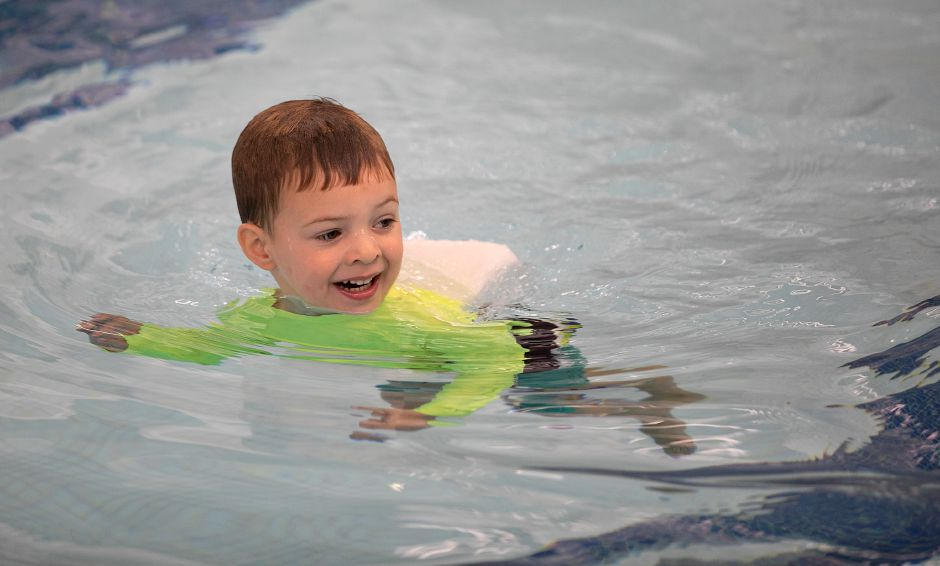 Zachary Silvia, 3, of Southington, gets his arms and legs moving during a swimming lesson at the Southington Community YMCA, Fri., Sept. 18, 2020. Dave Zajac, Record-Journal