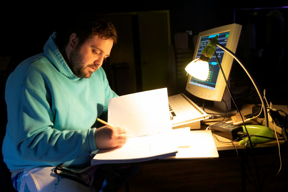Patrick Laffin, co-founder and technical director, works out the lighting for scenes in an upcoming play at The Square Foot Theatre, 950 Yale Ave., Wallingford, Tues., Apr. 2, 2019. The theatre is opening a bar and lounge. Dave Zajac, Record-Journal