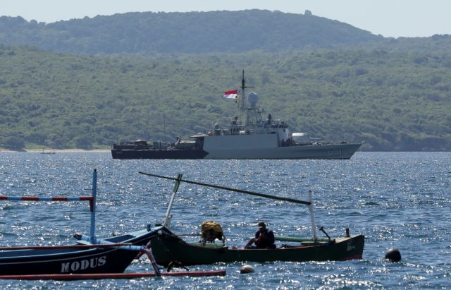 Indonesian Navy ship KRI Singa sails to take part in the search for submarine KRI Nanggala that went missing while participating in a training exercise on Wednesday, off Banyuwangi, East Java, Indonesia, Thursday, April 22, 2021. Indonesia