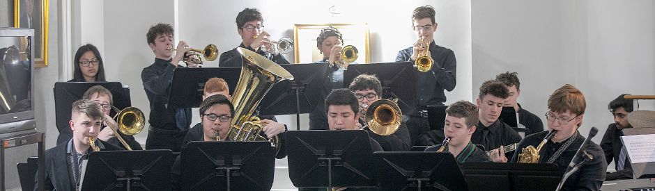 Members of the Lyman Hall High School Jazz Ensemble perform during a celebration of Dr. Martin Luther King Jr., at Wallingford Town Hall, Mon., Jan. 20, 2020. Dave Zajac, Record-Journal