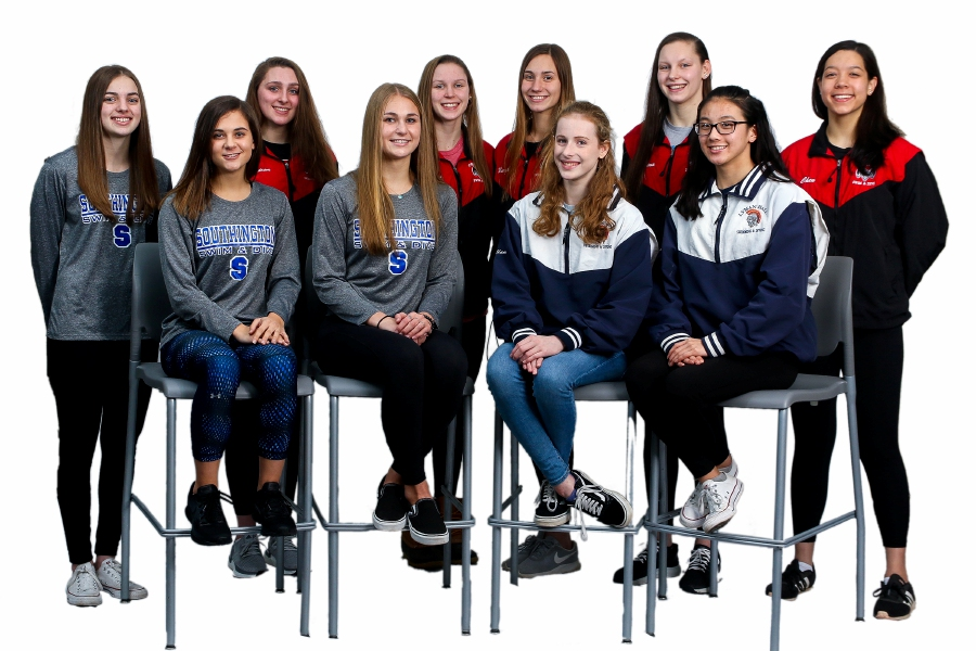 Introducing the 2019 All Record-Journal Girls Swim Team. In the back row, left to right, are Andie Nadeau of Southington and Cheshire teammates Nora Bergstrom, Julia Stevens, Sophie Murphy, Jillian Stevens and Sarah Chen. In front, left to right, are Gianna Perugini and Meghan Hammarlund of Southington alongside Elise Richardson and Caroline Krawec of Lyman Hall. Aaron Flaum, Record-Journal