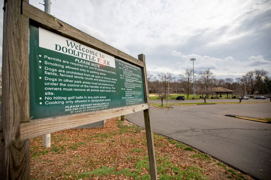 A welcome sign lists the rules of Doolittle Park in Wallingford, seen here on Nov. 25, 2020.