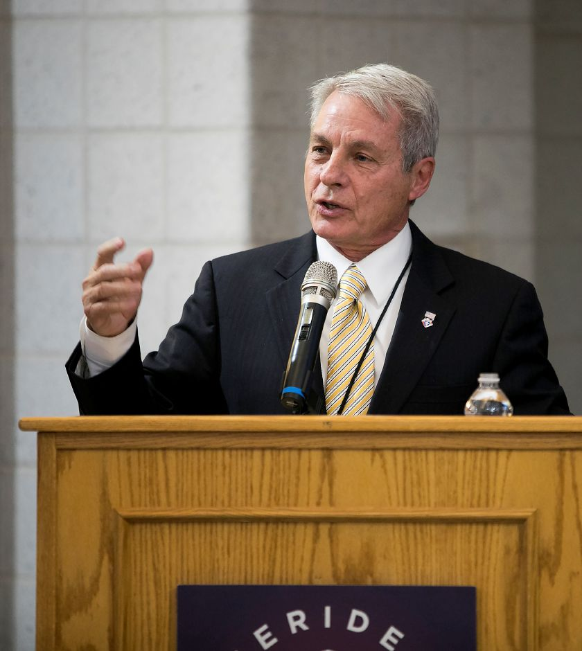 Senator Leonard Suzio speaks during a ribbon cutting ceremony for the new Platt High School in Meriden, Thursday, October 19, 2017.    | Dave Zajac, Record-Journal