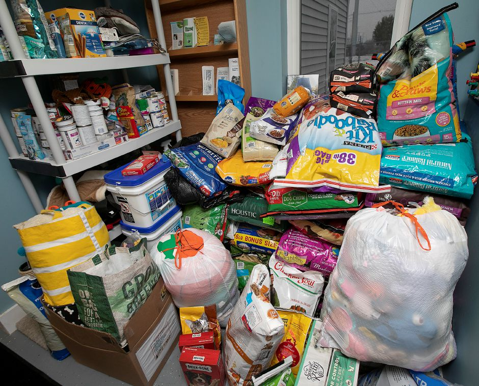 Donated items for animals at the Municipal Animal Shelter in Wallingford, Fri., Dec. 13, 2019. Shelter staff have been posting profiles and photos of each animal on Facebook, along with what they want for Christmas. The public is invited to visit the shelter, 5 Pent Road, from 11 a.m. to 2 p.m. Dec. 24 to spend time with the animals and drop off gifts. Dave Zajac, Record-Journal