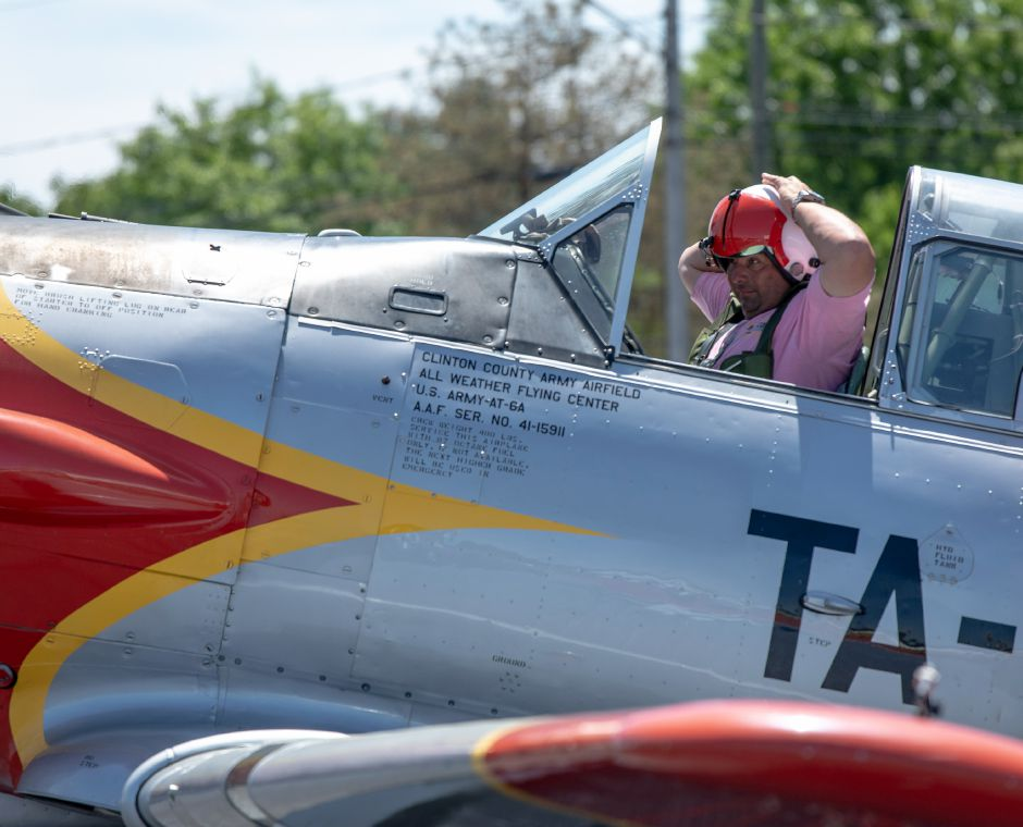 Pilot Mark Simmons prepares for take-off in a North American AT-6A Texan during the Wings and Wheels car and air show at Robertson Airport on June 8.