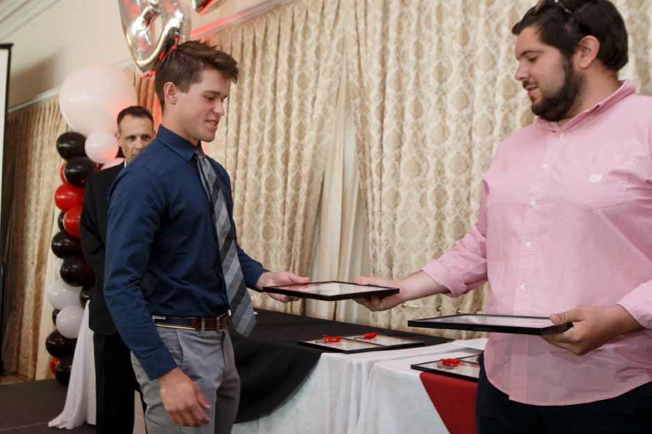 Hockey Player of the Year Kyle Roberts Sunday during the third annual Record-Journal Best of the Bunch Brunch Awards at the Aqua Turf Club in Plantsville June 24, 2018 | Justin Weekes / Special to the Record-Journal