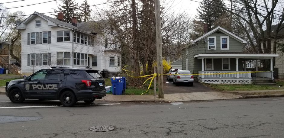 Meriden police investigate a shooting on South First Street Friday morning April 19, 2019. | Jeniece Roman, Record-Journal