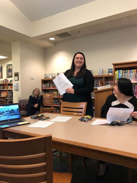"Dena Miccinello, Prevention Coordinator of the Durham Middlefield Local Wellness Coalition, introduces the film ""Resilience"" at Monday's meeting."