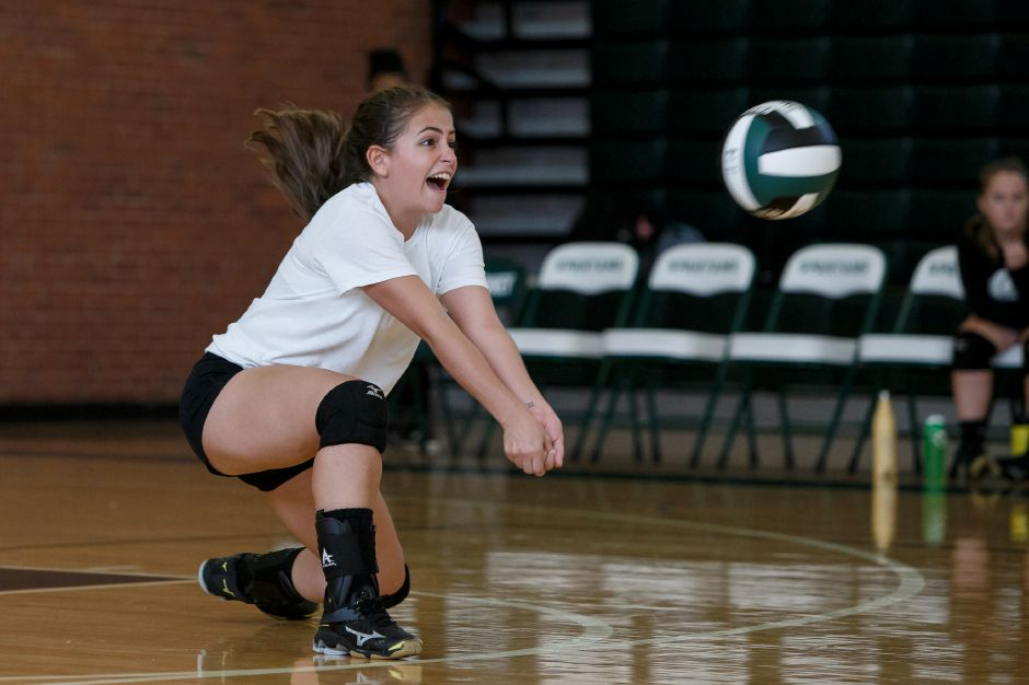 Senior Isabel Frazza is a veteran hand to libero for the Maloney Spartans. She led the team last year with 160 digs. | Justin Weekes / Special to the Record-Journal
