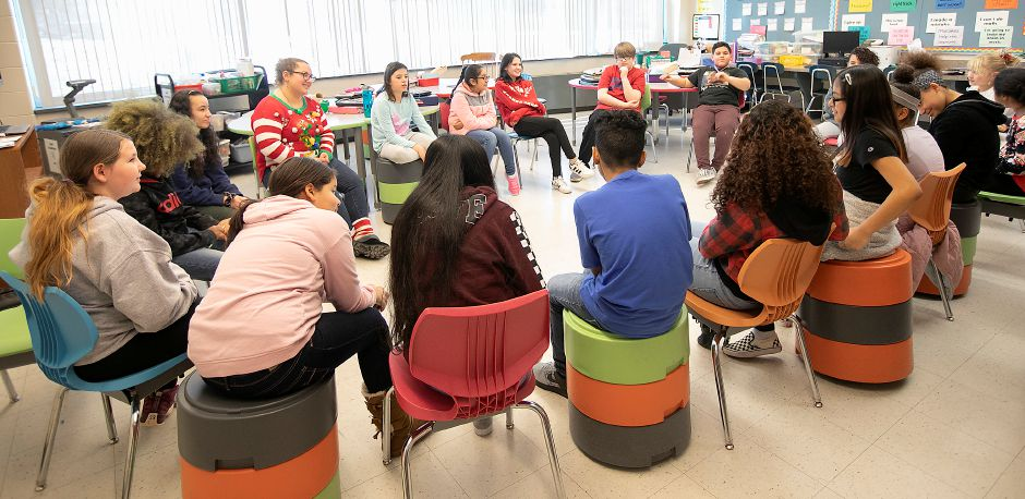 Teacher Julianna Pratt, top left, instructs her sixth-grade math class at Thomas Edison Middle School in Meriden, Fri., Dec. 20, 2019. Thomas Edison Middle School officials recently notified parents that the Meriden Board of Education had not made any decisions about the school's future and invited them to a meeting next month. Dave Zajac, Record-Journal